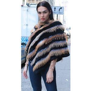 f70852482 Marc Kaufman Furs Jackets & Coats   Red Fox Black Rex Rabbit Poncho ...
